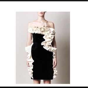 Lanvin New Strapless Ruffled Black Cocktail Dress